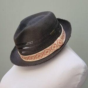 Roxy Fedora Hat Black Geometric Trim